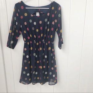 🦋 3/$15 Everly Navy & multi-color polka dot dress